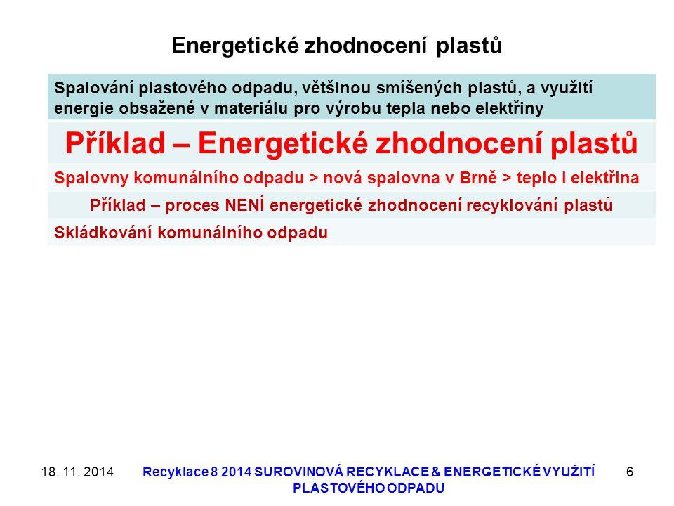 18. 11. 2014Recyklace 8 2014 SUROVINOVÁ RECYKLACE & ENERGETICKÉ VYUŽITÍ PLASTOVÉHO ODPADU 17