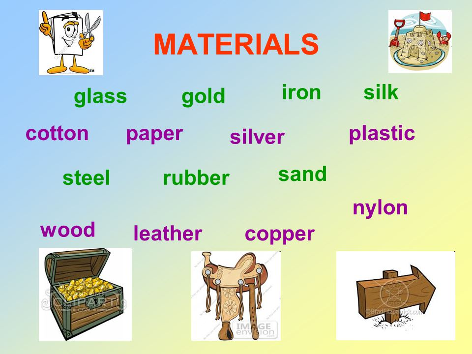 MATERIALS cotton glass paper gold silver iron plastic silk steelrubber sand wood leathercopper nylon