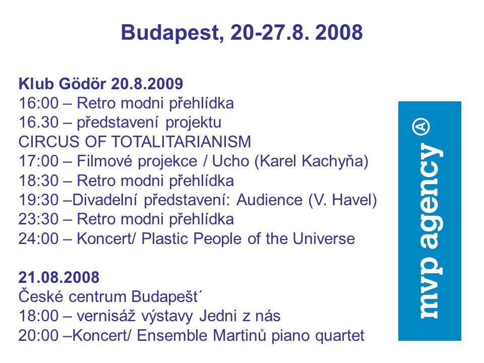 Budapest, 20-27.8. 2008 Klub Gödör 20.8.2009 16:00 – Retro modni přehlídka 16.30 – představení projektu CIRCUS OF TOTALITARIANISM 17:00 – Filmové proj