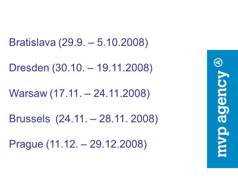 Bratislava (29.9. – 5.10.2008) Dresden (30.10. – 19.11.2008) Warsaw (17.11. – 24.11.2008) Brussels (24.11. – 28.11. 2008) Prague (11.12. – 29.12.2008)