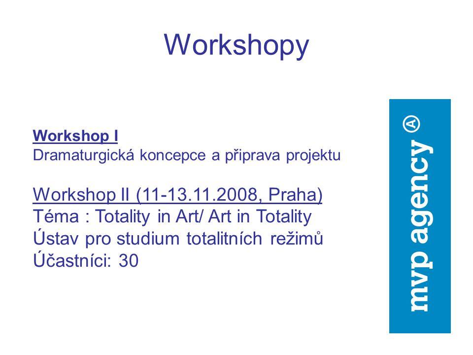 Workshopy Workshop I Dramaturgická koncepce a připrava projektu Workshop II (11-13.11.2008, Praha) Téma : Totality in Art/ Art in Totality Ústav pro studium totalitních režimů Účastníci: 30