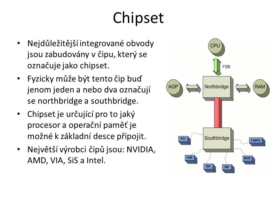 Chipset Nejdůležitější integrované obvody jsou zabudovány v čipu, který se označuje jako chipset. Fyzicky může být tento čip buď jenom jeden a nebo dv