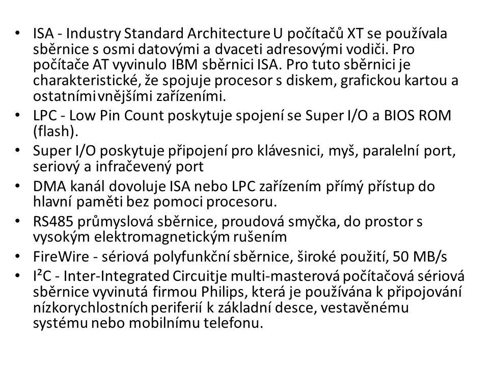 ISA - Industry Standard Architecture U počítačů XT se používala sběrnice s osmi datovými a dvaceti adresovými vodiči. Pro počítače AT vyvinulo IBM sbě