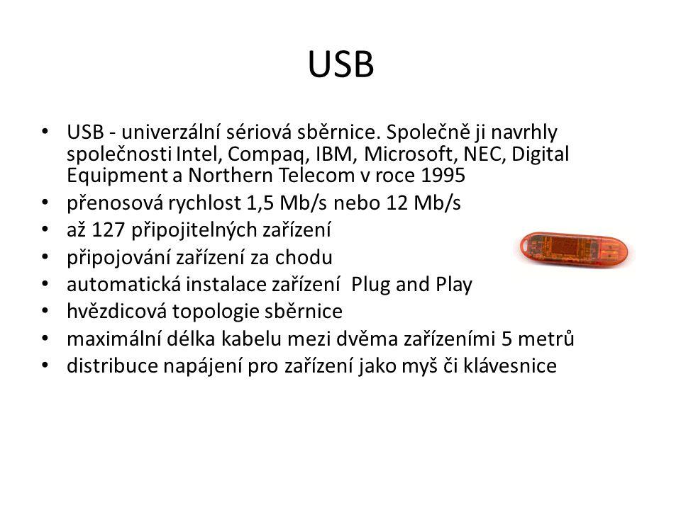 USB USB - univerzální sériová sběrnice.