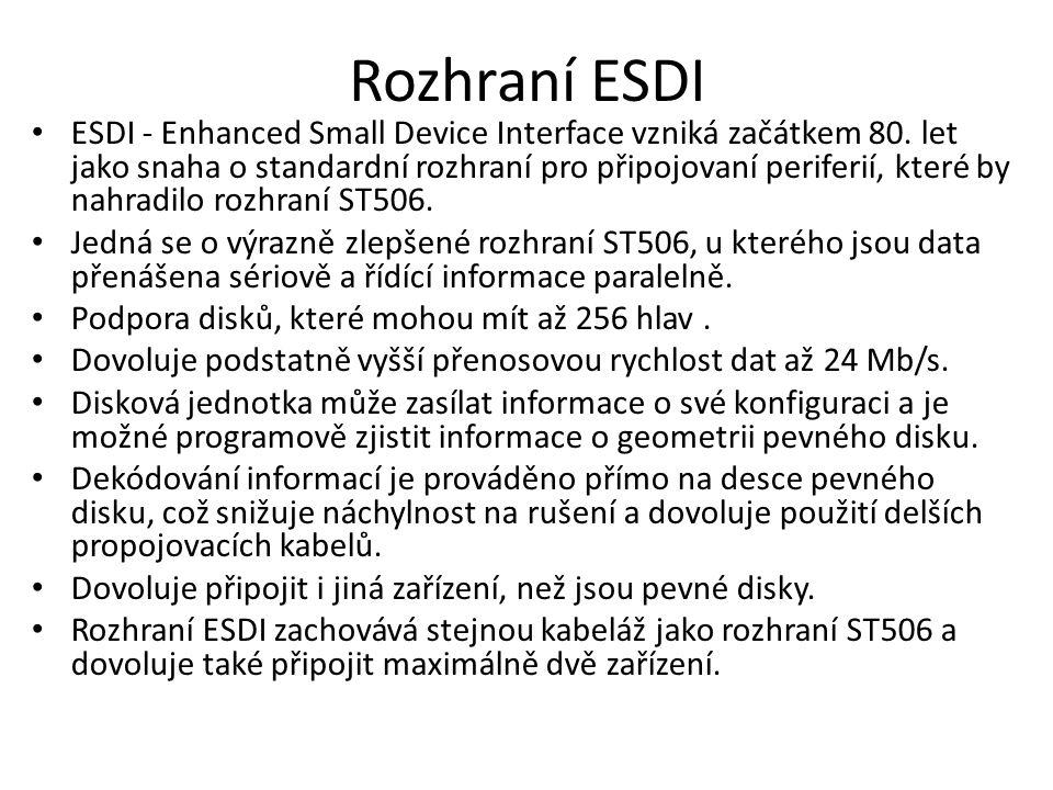 Rozhraní ESDI ESDI - Enhanced Small Device Interface vzniká začátkem 80. let jako snaha o standardní rozhraní pro připojovaní periferií, které by nahr