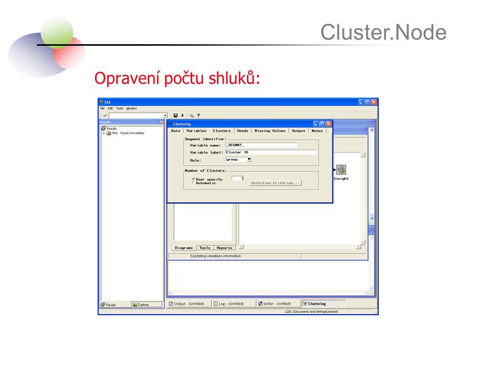 Opravení počtu shluků: Cluster.Node