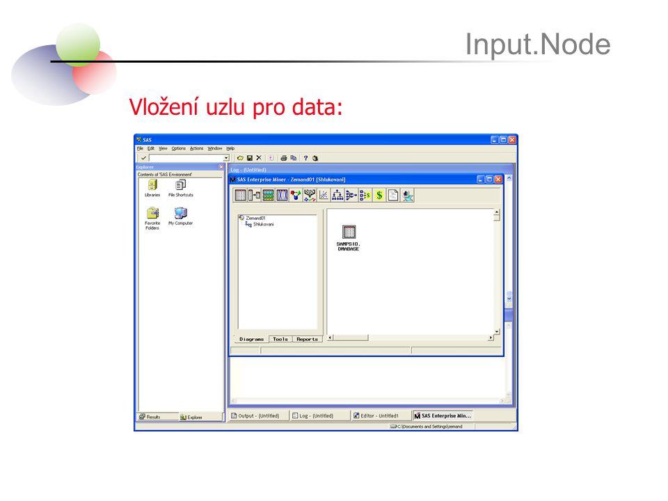 Vložení uzlu pro data: Input.Node