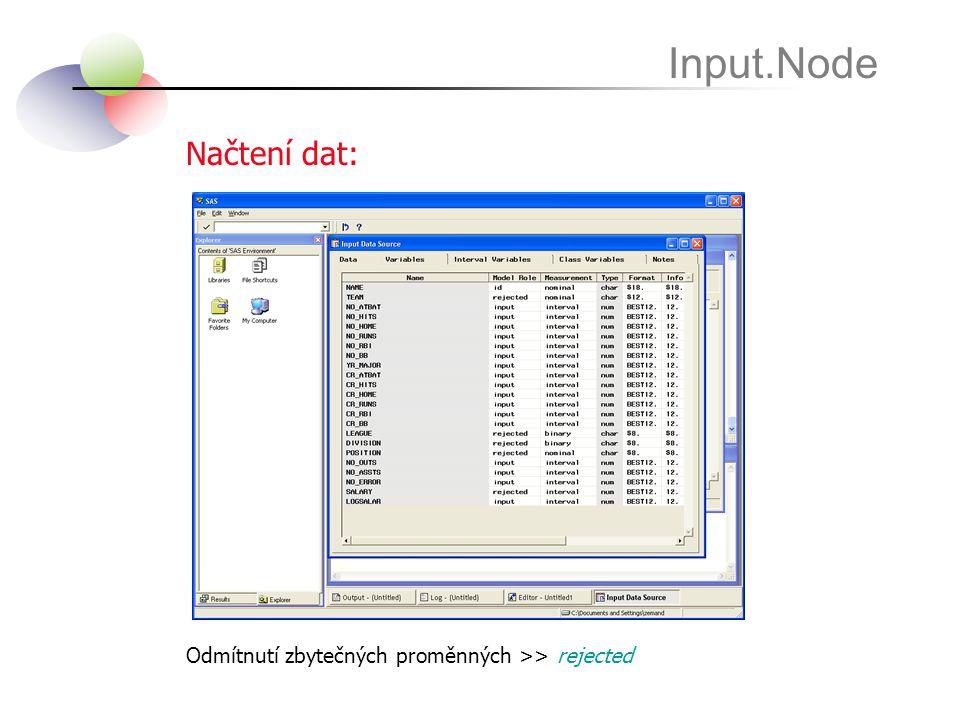 Načtení dat: Input.Node Odmítnutí zbytečných proměnných >> rejected