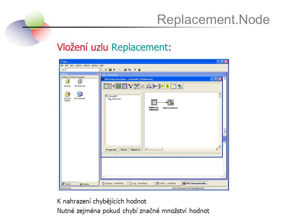 Vložení uzlu Replacement: Replacement.Node K nahrazení chybějících hodnot Nutné zejména pokud chybí značné množství hodnot