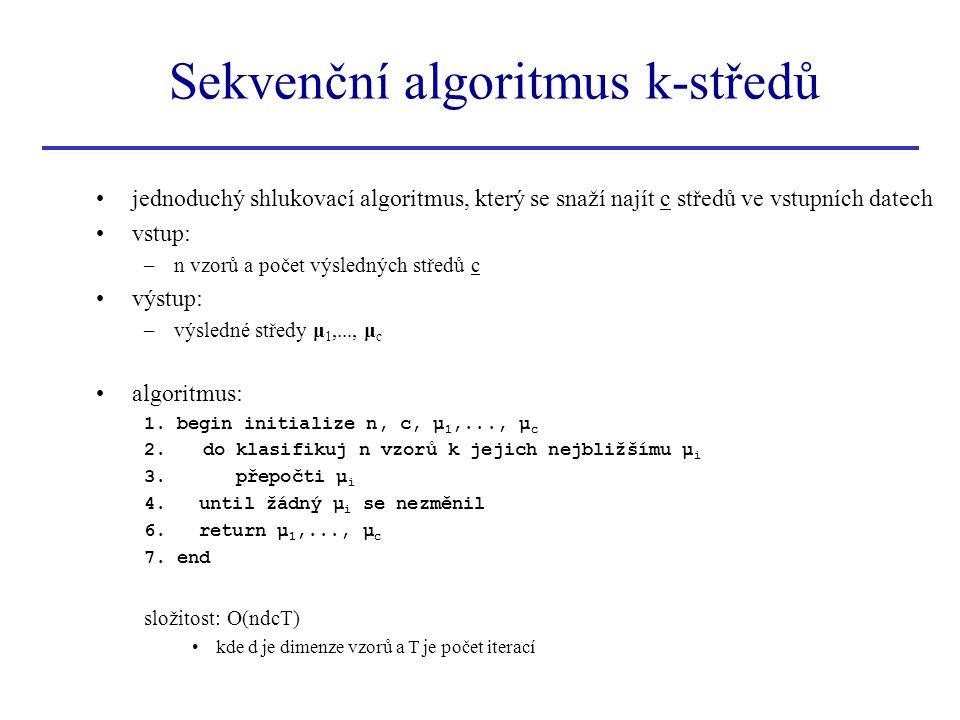 jednoduchý shlukovací algoritmus, který se snaží najít c středů ve vstupních datech vstup: –n vzorů a počet výsledných středů c výstup: –výsledné stře