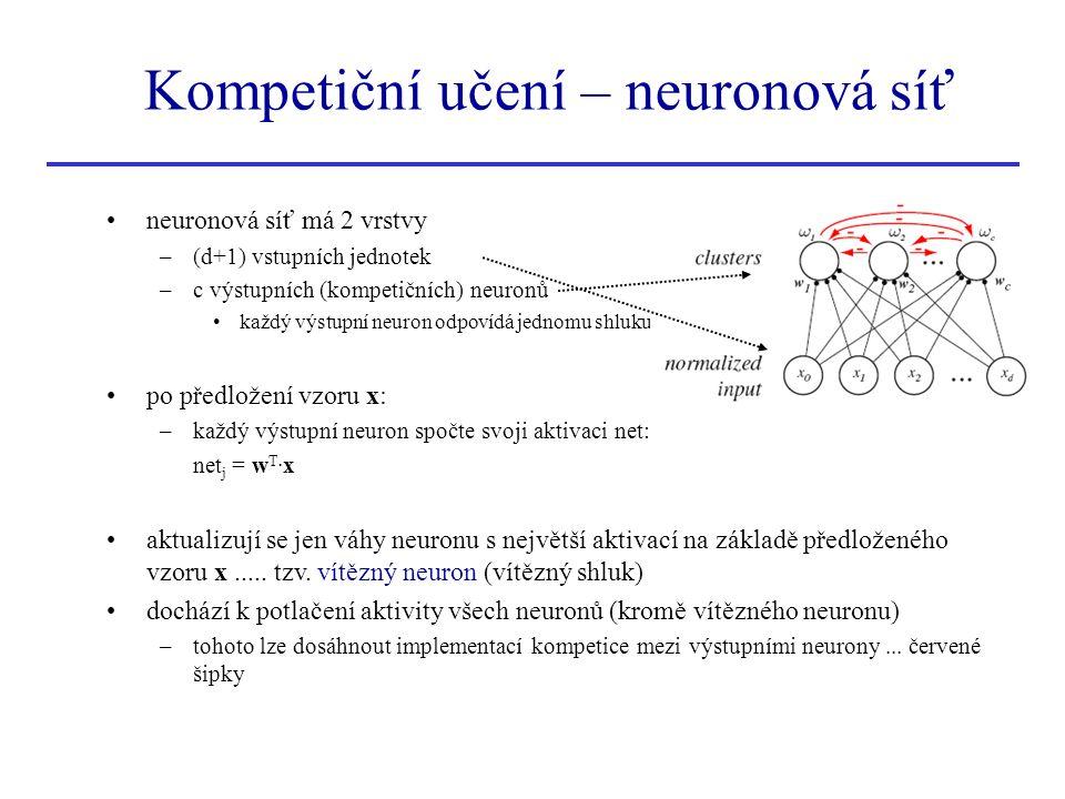 neuronová síť má 2 vrstvy –(d+1) vstupních jednotek –c výstupních (kompetičních) neuronů každý výstupní neuron odpovídá jednomu shluku po předložení v