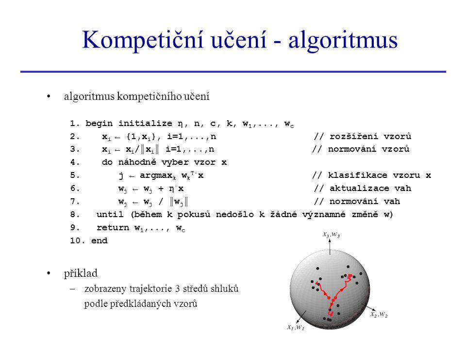 algoritmus kompetičního učení 1. begin initialize η, n, c, k, w 1,..., w c 2. x i ← {1,x i }, i=1,...,n // rozšíření vzorů 3. x i ← x i /║x i ║ i=1,..