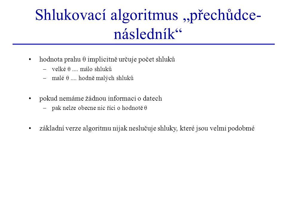 hodnota prahu θ implicitně určuje počet shluků –velké θ.... málo shluků –malé θ.... hodně malých shluků pokud nemáme žádnou informaci o datech –pak ne