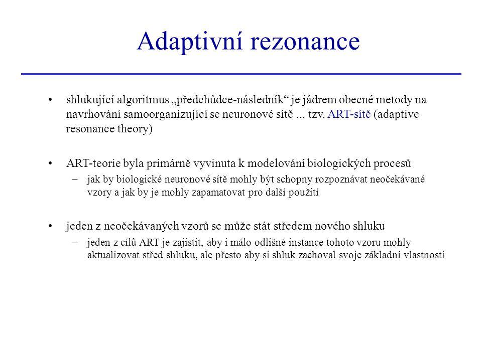 """shlukující algoritmus """"předchůdce-následník"""" je jádrem obecné metody na navrhování samoorganizující se neuronové sítě... tzv. ART-sítě (adaptive reson"""