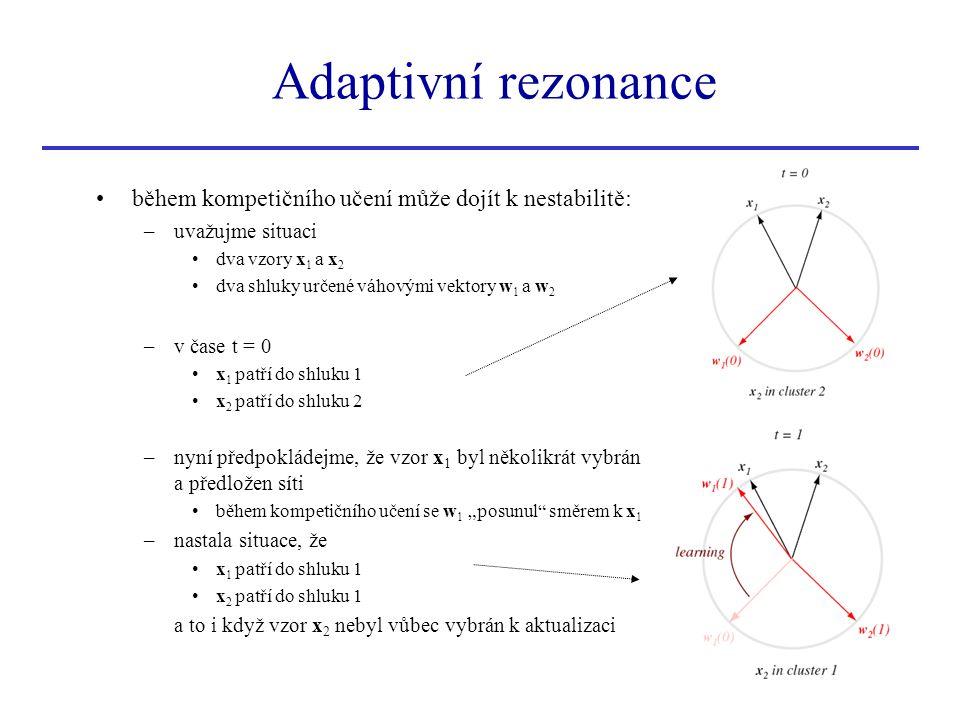 během kompetičního učení může dojít k nestabilitě: –uvažujme situaci dva vzory x 1 a x 2 dva shluky určené váhovými vektory w 1 a w 2 –v čase t = 0 x