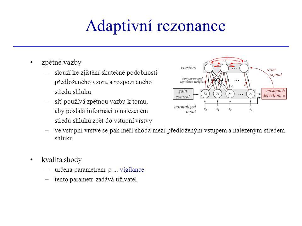 zpětné vazby –slouží ke zjištění skutečné podobnosti předloženého vzoru a rozpoznaného středu shluku –síť používá zpětnou vazbu k tomu, aby poslala in