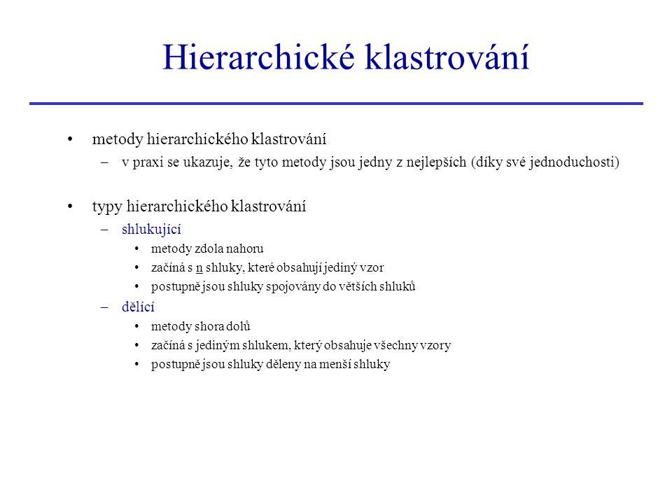 metody hierarchického klastrování –v praxi se ukazuje, že tyto metody jsou jedny z nejlepších (díky své jednoduchosti) typy hierarchického klastrování