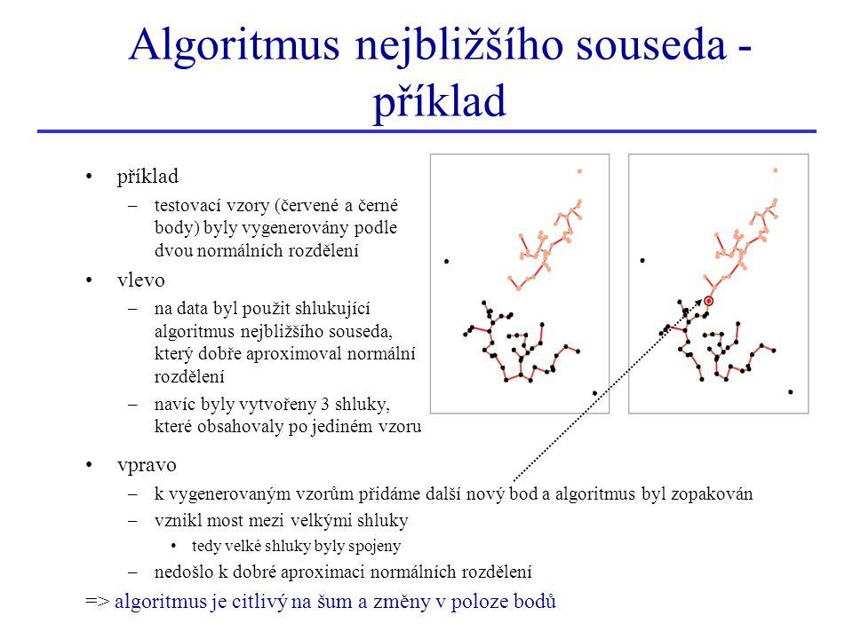 příklad shlukujícího hierarchického shlukování k měření vzdálenosti mezi shluky použijeme funkci d max (∙, ∙) algoritmus úplného propojení (complete linkage alg.) –navíc přidáme ukončující podmínku algoritmu algoritmus končí v okamžiku, kdy vzdálenost mezi nejbližšími shluky je větší než daný práh –algoritmus omezuje růst oválných shluků –zavedeme graf vzory představují uzly grafu všechny uzly v daném shluku jsou propojeny –každý shluk vytvoří úplný podgraf vzdálenost mezi 2 shluky je určena nejvzdálenějšími uzly ve shlucích když jsou nejbližší shluky sloučeny => do grafu se přidají hrany mezi uzly z různých shluků Algoritmus nejvzdálenějšího souseda