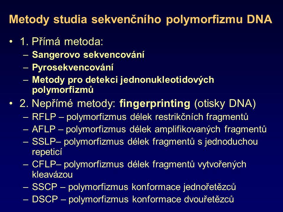 Metody studia sekvenčního polymorfizmu DNA 1. Přímá metoda: –Sangerovo sekvencování –Pyrosekvencování –Metody pro detekci jednonukleotidových polymorf