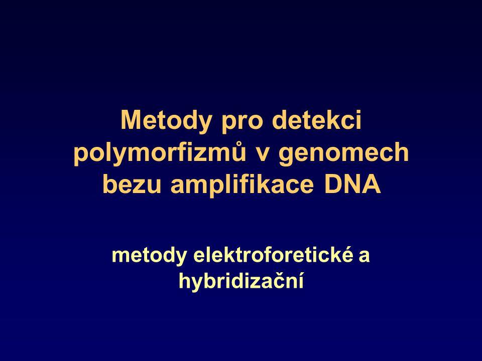 Metody pro detekci polymorfizmů v genomech bezu amplifikace DNA metody elektroforetické a hybridizační