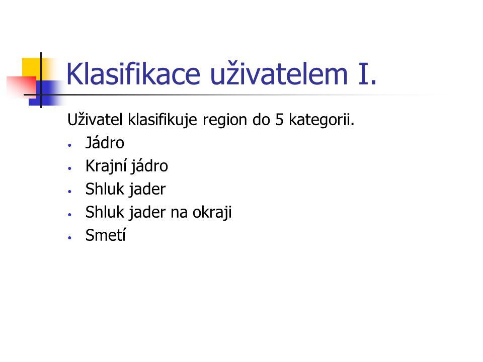 Klasifikace uživatelem I. Uživatel klasifikuje region do 5 kategorii.