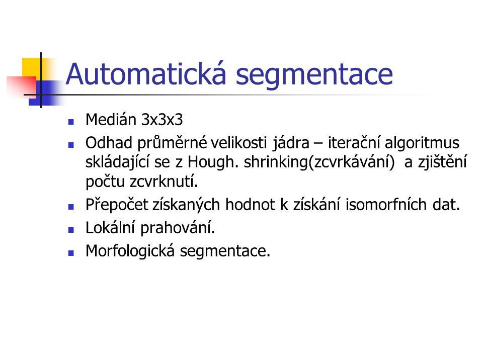 Automatická segmentace Medián 3x3x3 Odhad průměrné velikosti jádra – iterační algoritmus skládající se z Hough.