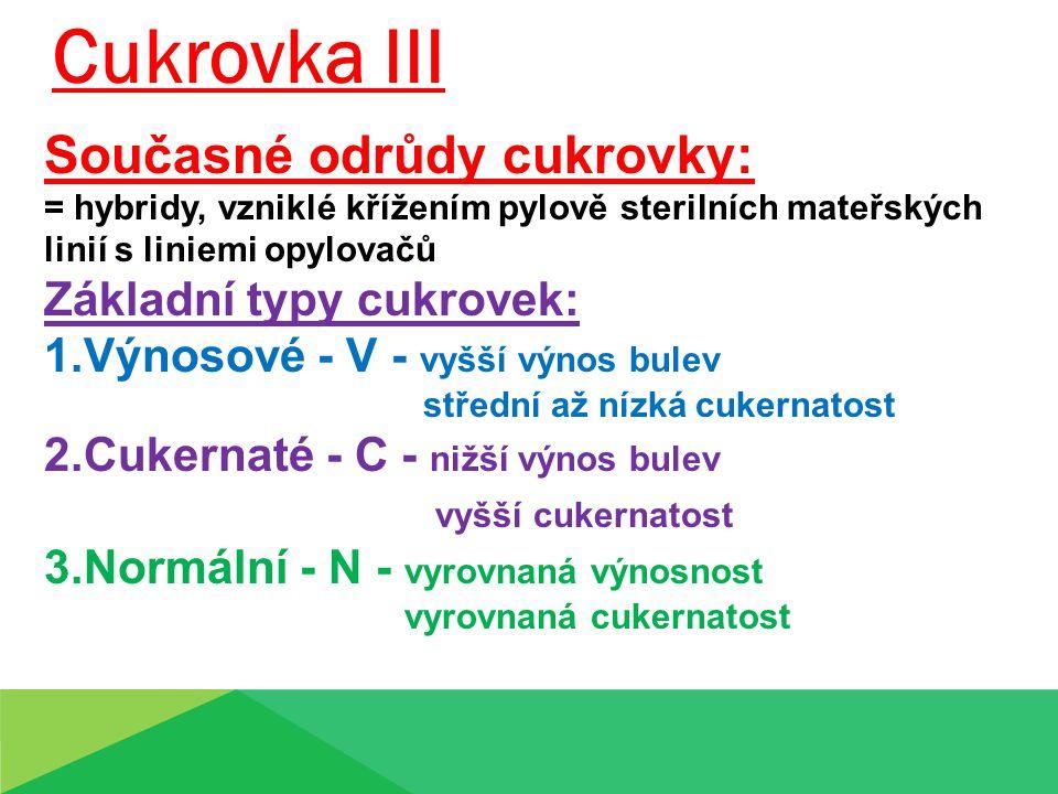 Cukrovka III Současné odrůdy cukrovky: = hybridy, vzniklé křížením pylově sterilních mateřských linií s liniemi opylovačů Základní typy cukrovek: 1.Výnosové - V - vyšší výnos bulev střední až nízká cukernatost 2.Cukernaté - C - nižší výnos bulev vyšší cukernatost 3.Normální - N - vyrovnaná výnosnost vyrovnaná cukernatost