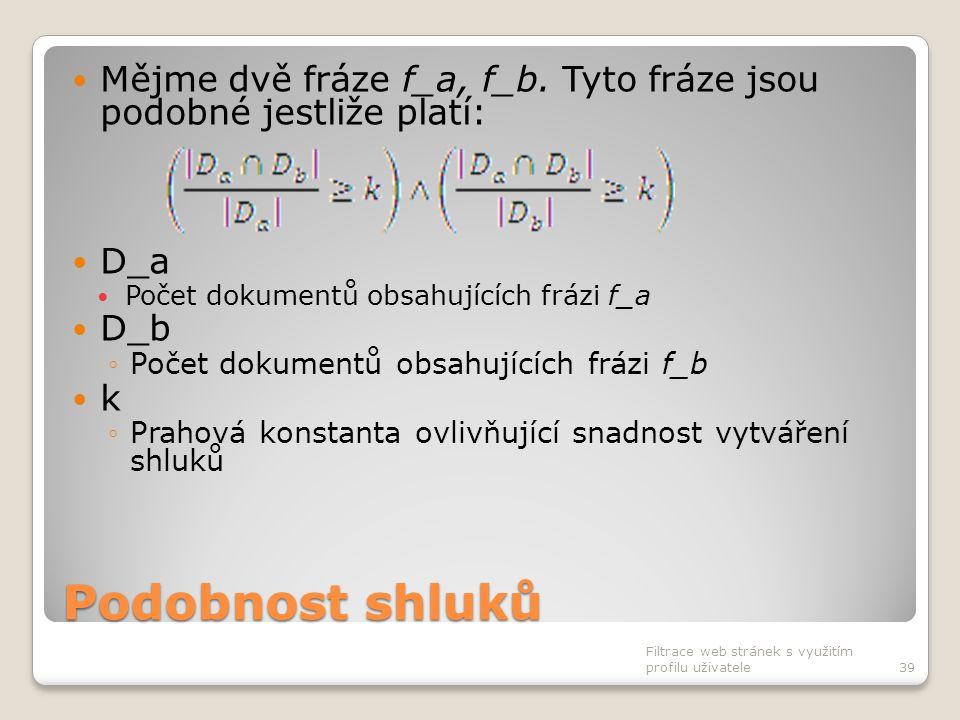 Podobnost shluků Mějme dvě fráze f_a, f_b. Tyto fráze jsou podobné jestliže platí: D_a Počet dokumentů obsahujících frázi f_a D_b ◦Počet dokumentů obs