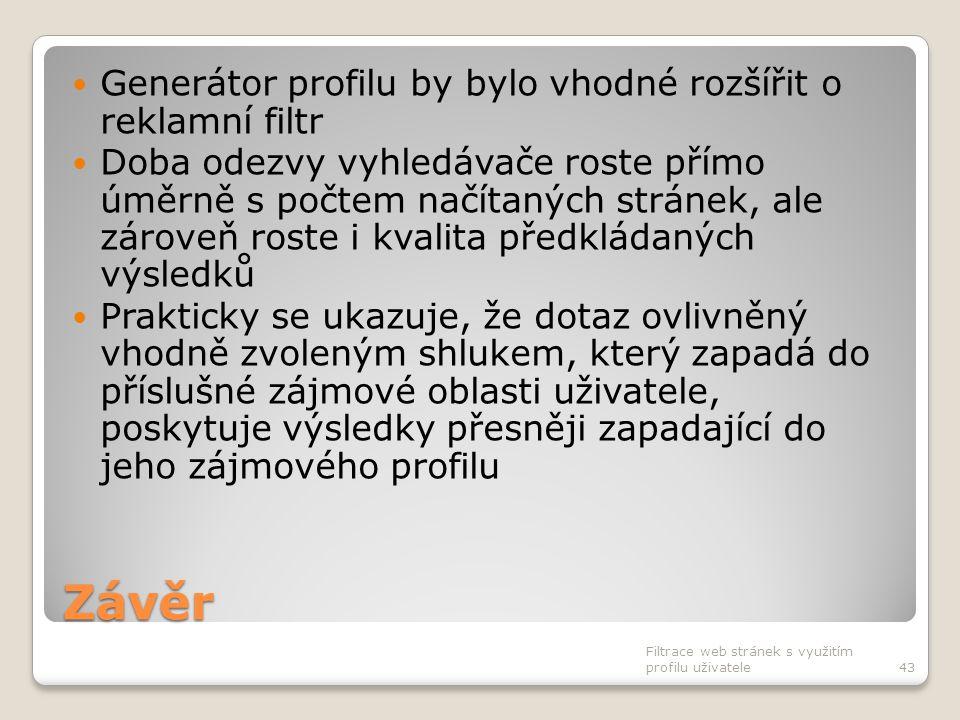 Závěr Generátor profilu by bylo vhodné rozšířit o reklamní filtr Doba odezvy vyhledávače roste přímo úměrně s počtem načítaných stránek, ale zároveň r