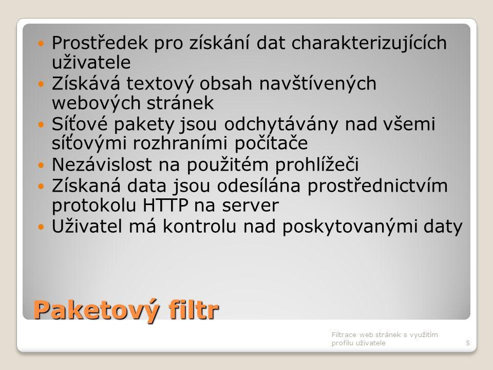 Paketový filtr Prostředek pro získání dat charakterizujících uživatele Získává textový obsah navštívených webových stránek Síťové pakety jsou odchytáv
