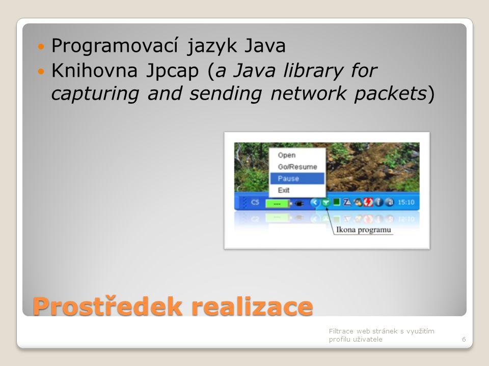 Prostředek realizace Programovací jazyk Java Knihovna Jpcap (a Java library for capturing and sending network packets) Filtrace web stránek s využitím