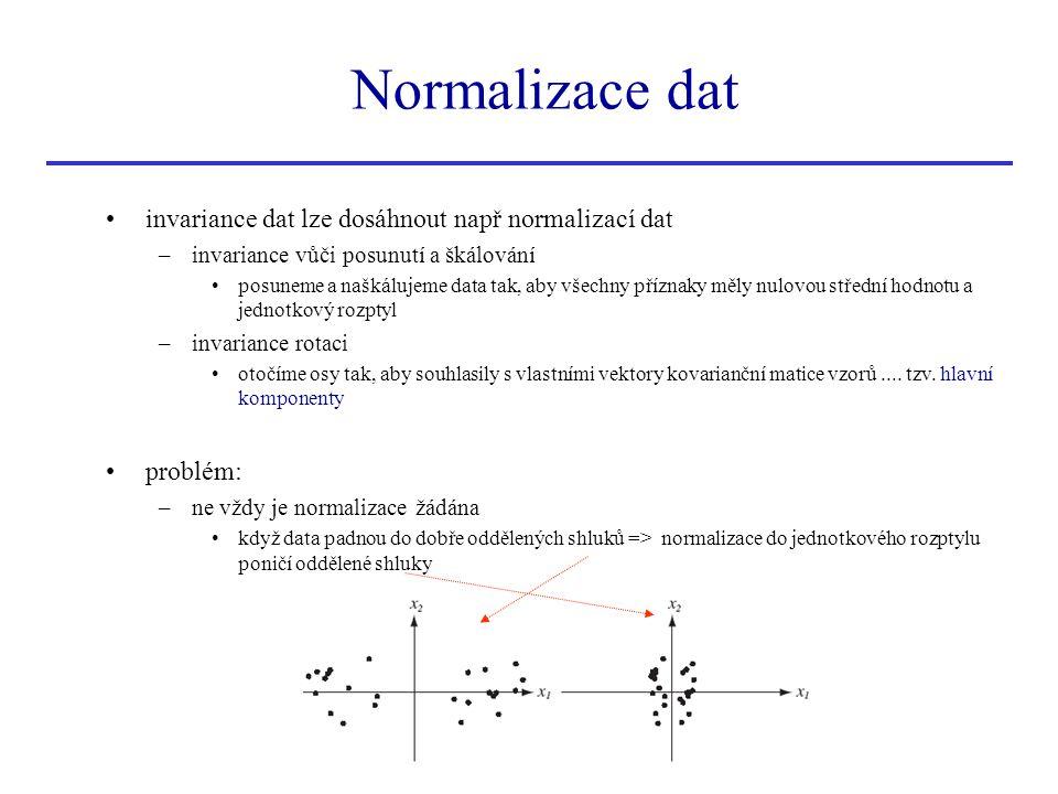 invariance dat lze dosáhnout např normalizací dat –invariance vůči posunutí a škálování posuneme a naškálujeme data tak, aby všechny příznaky měly nul