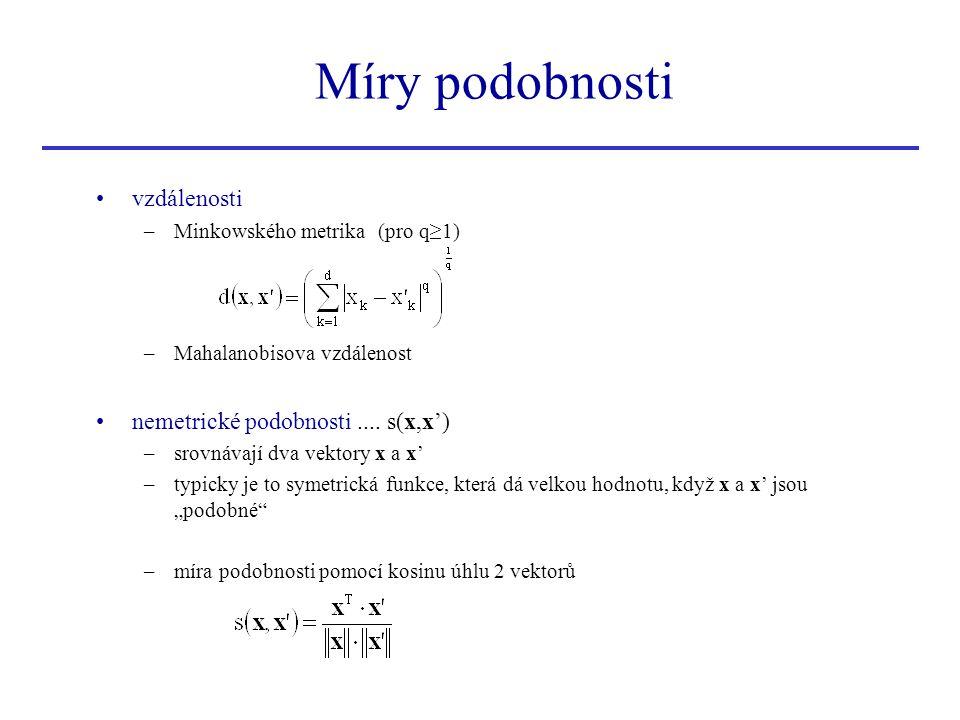 vzdálenosti –Minkowského metrika (pro q≥1) –Mahalanobisova vzdálenost nemetrické podobnosti.... s(x,x') –srovnávají dva vektory x a x' –typicky je to
