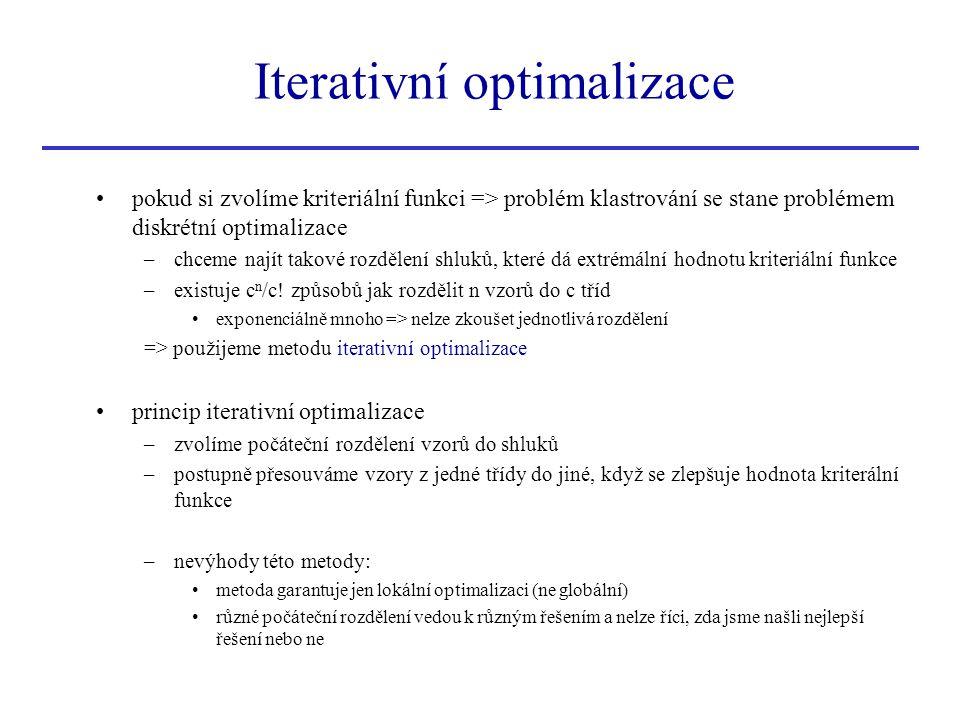 pokud si zvolíme kriteriální funkci => problém klastrování se stane problémem diskrétní optimalizace –chceme najít takové rozdělení shluků, které dá e