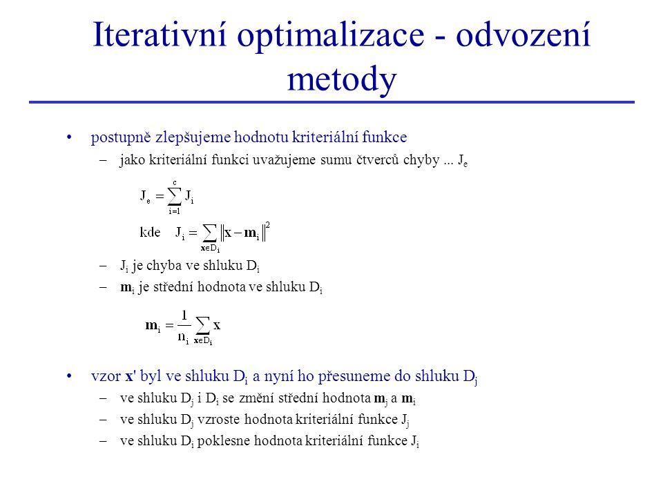 postupně zlepšujeme hodnotu kriteriální funkce –jako kriteriální funkci uvažujeme sumu čtverců chyby... J e –J i je chyba ve shluku D i –m i je středn