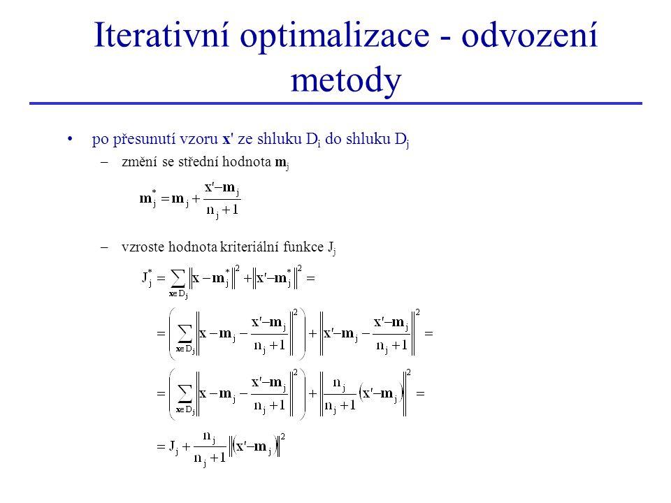po přesunutí vzoru x' ze shluku D i do shluku D j –změní se střední hodnota m j –vzroste hodnota kriteriální funkce J j Iterativní optimalizace - odvo