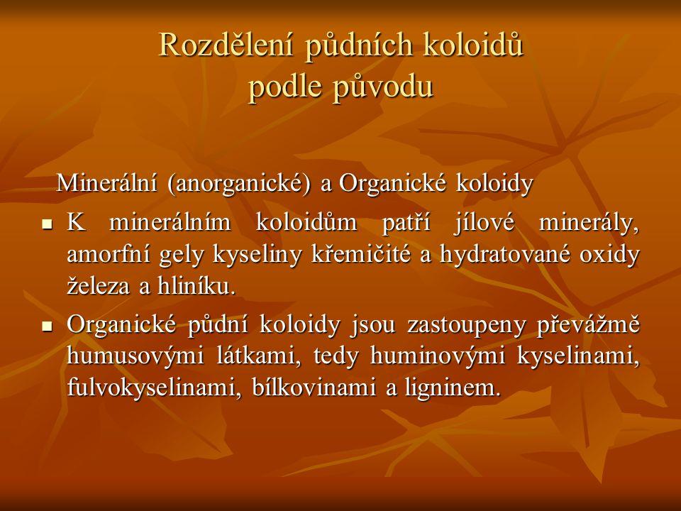Rozdělení půdních koloidů podle původu Minerální (anorganické) a Organické koloidy Minerální (anorganické) a Organické koloidy K minerálním koloidům p