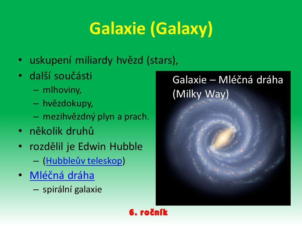 Galaxie (Galaxy) uskupení miliardy hvězd (stars), další součásti – mlhoviny, – hvězdokupy, – mezihvězdný plyn a prach. několik druhů rozdělil je Edwin