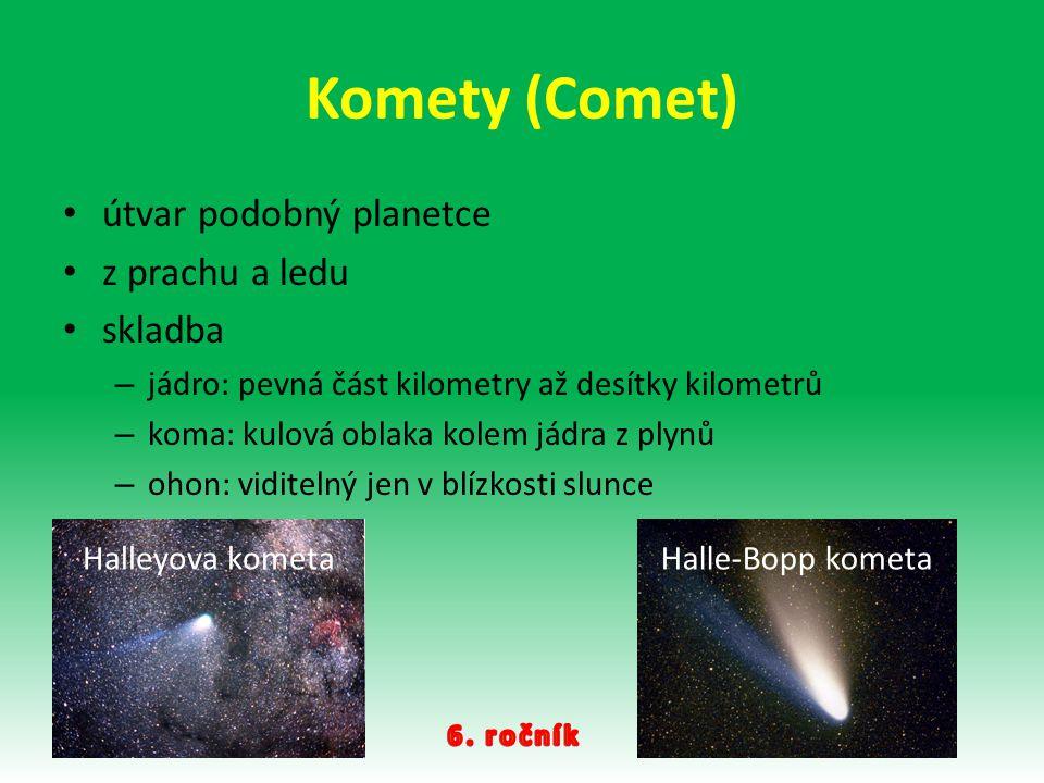 Komety (Comet) útvar podobný planetce z prachu a ledu skladba – jádro: pevná část kilometry až desítky kilometrů – koma: kulová oblaka kolem jádra z p