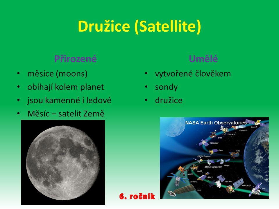 Družice (Satellite) Přirozené měsíce (moons) obíhají kolem planet jsou kamenné i ledové Měsíc – satelit Země Umělé vytvořené člověkem sondy družice