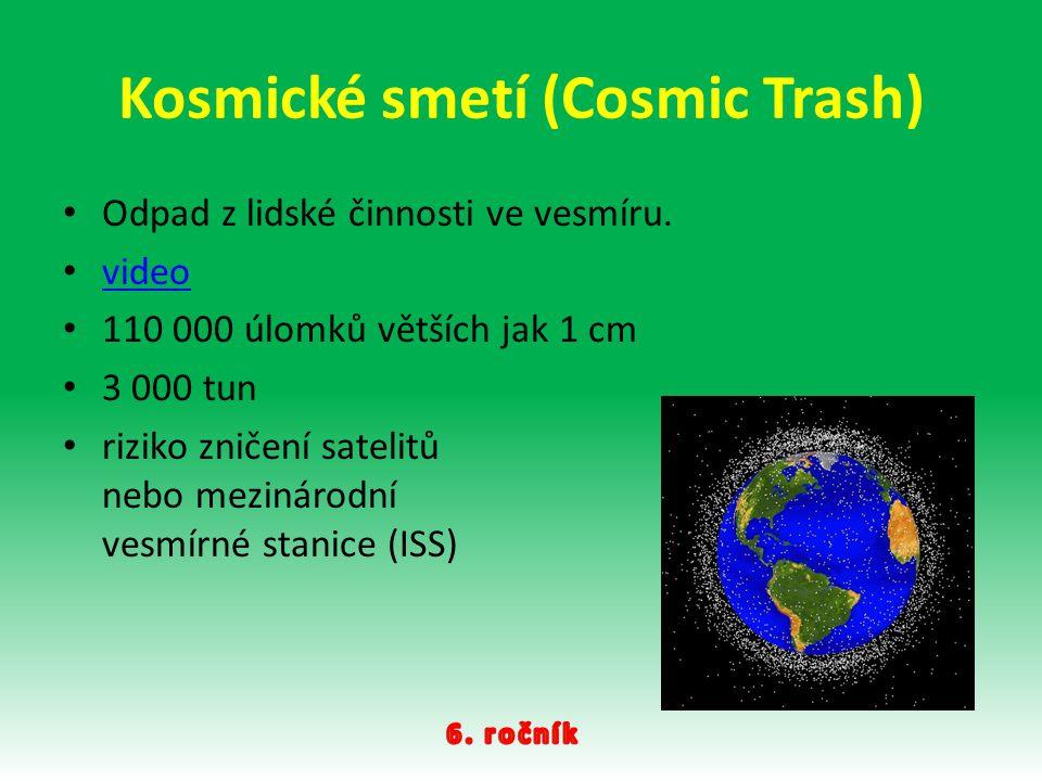 Kosmické smetí (Cosmic Trash) Odpad z lidské činnosti ve vesmíru. video 110 000 úlomků větších jak 1 cm 3 000 tun riziko zničení satelitů nebo mezinár