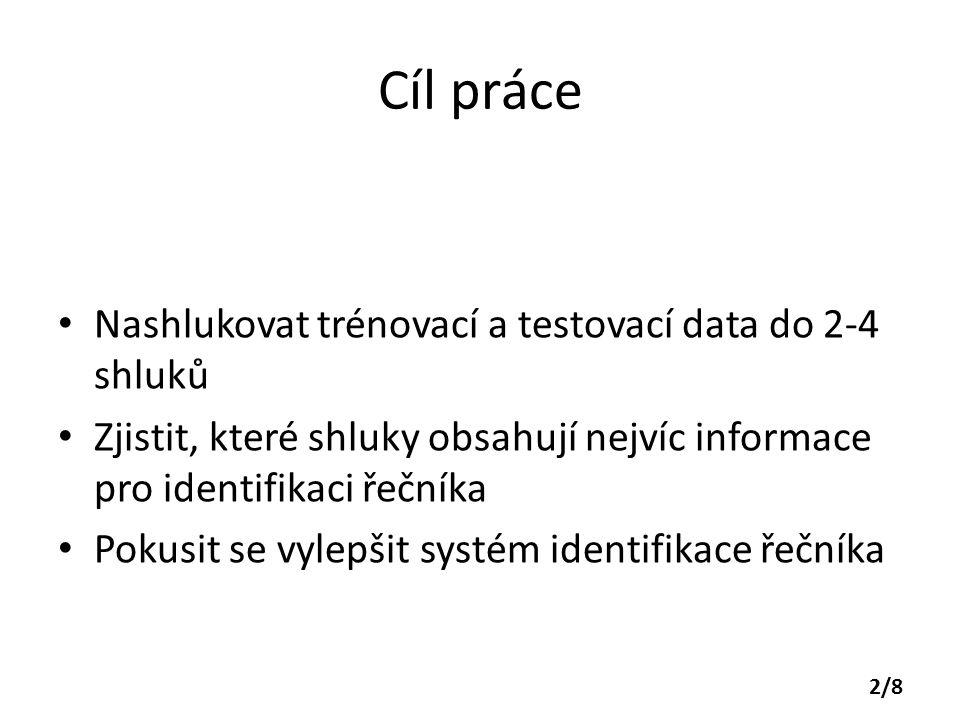 Cíl práce Nashlukovat trénovací a testovací data do 2-4 shluků Zjistit, které shluky obsahují nejvíc informace pro identifikaci řečníka Pokusit se vyl