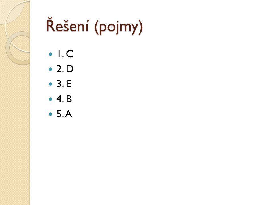 Řešení (pojmy) 1. C 2. D 3. E 4. B 5. A