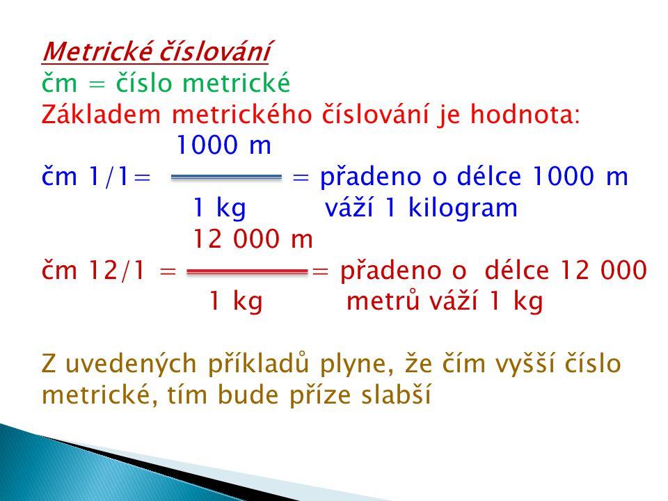Metrické číslování čm = číslo metrické Základem metrického číslování je hodnota: 1000 m čm 1/1= = přadeno o délce 1000 m 1 kg váží 1 kilogram 12 000 m