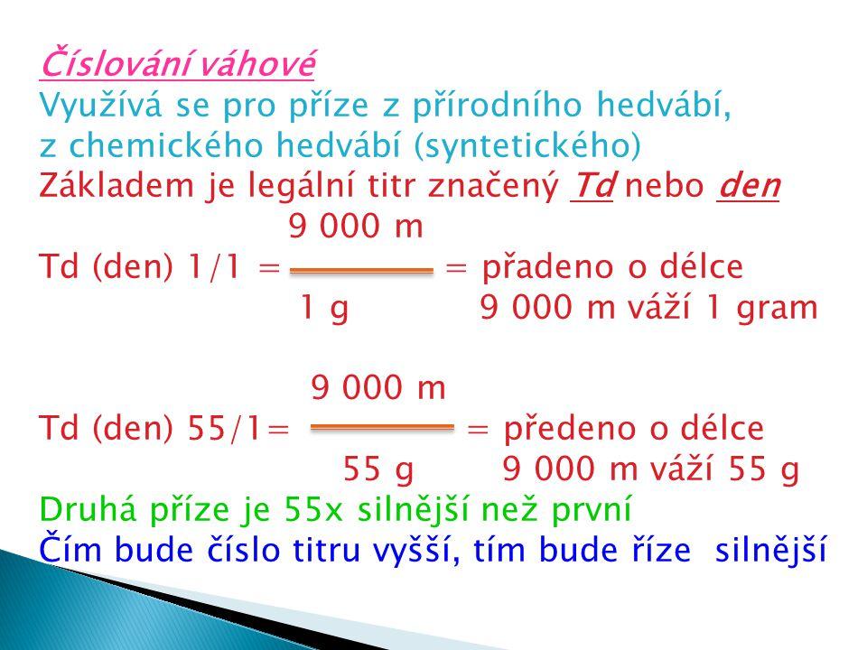 Číslování váhové Využívá se pro příze z přírodního hedvábí, z chemického hedvábí (syntetického) Základem je legální titr značený Td nebo den 9 000 m T