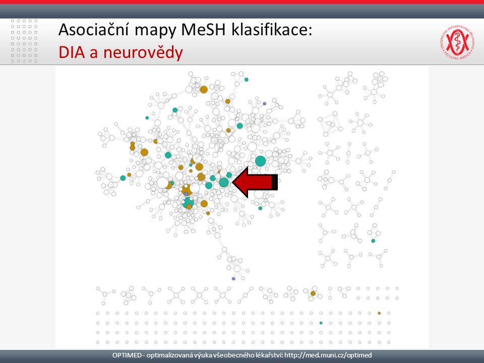 Asociační mapy MeSH klasifikace: DIA a neurovědy OPTIMED - optimalizovaná výuka všeobecného lékařství: http://med.muni.cz/optimed