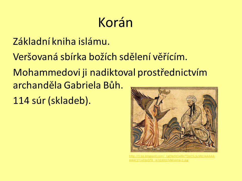 Korán Základní kniha islámu. Veršovaná sbírka božích sdělení věřícím. Mohammedovi ji nadiktoval prostřednictvím archanděla Gabriela Bůh. 114 súr (skla
