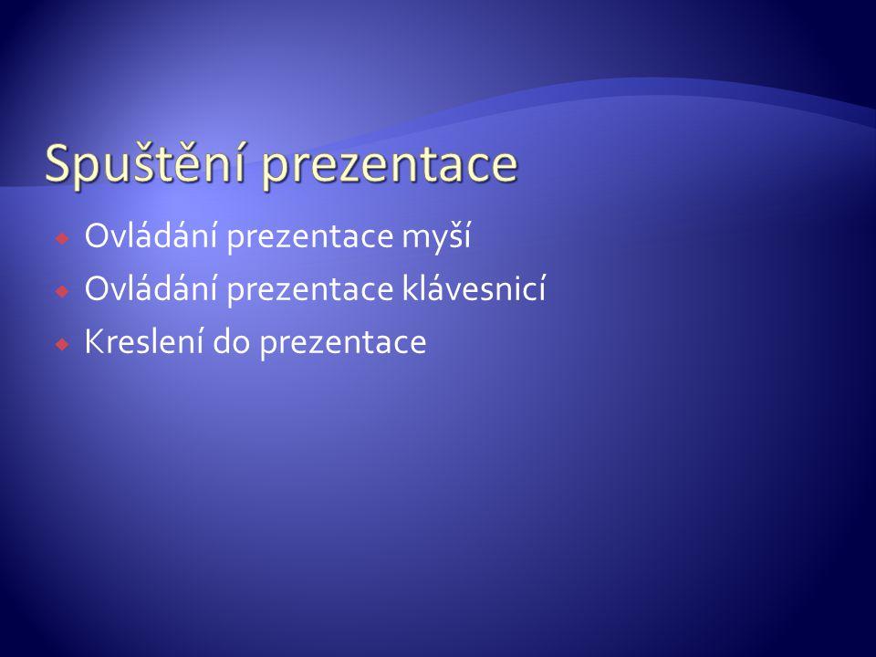 OOvládání prezentace myší OOvládání prezentace klávesnicí KKreslení do prezentace