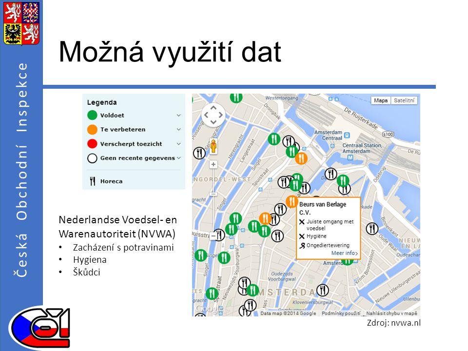 Česká Obchodní Inspekce Možná využití dat Nederlandse Voedsel- en Warenautoriteit (NVWA) Zacházení s potravinami Hygiena Škůdci Zdroj: nvwa.nl