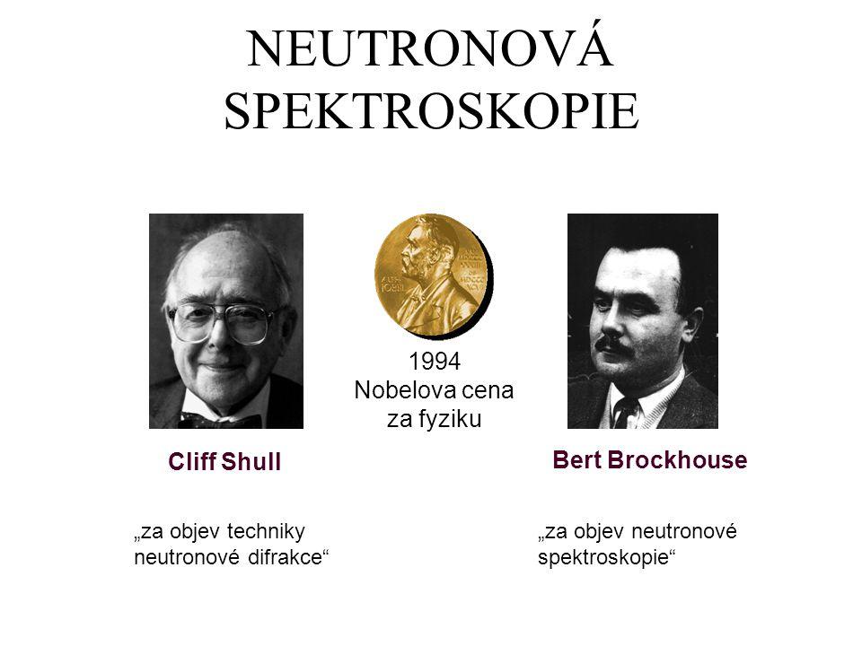 """NEUTRONOVÁ SPEKTROSKOPIE 1994 Nobelova cena za fyziku Cliff Shull Bert Brockhouse """"za objev techniky neutronové difrakce"""" """"za objev neutronové spektro"""